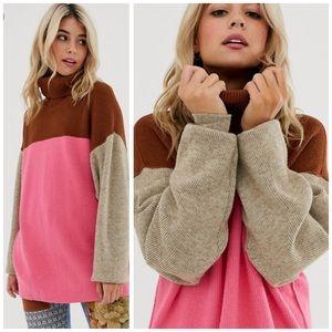 Free People Pink Block Sweater Tunic